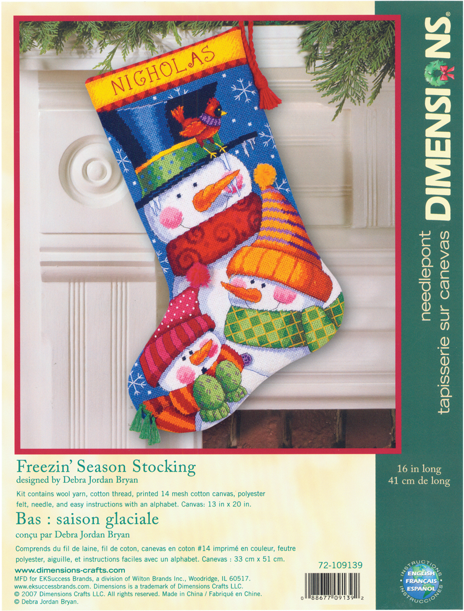 "Primary image for Dimensions Stocking Needlepoint Kit 16"" Freezin' Season Stitched Wool&Thread"