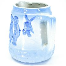 "Vintage Delft Blue Style Windmill Kissing Dutch Couple Stoneware 7"" Pitcher image 5"