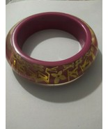 Louis Vuitton Framboise Inclusion Wide Bangle Bracelet Pink Gold - $200.00