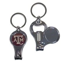 TEXAS A&M AGGIES NCAA COLLEGE 3-IN-1 NAIL CARE BOTTLE OPENER KEYCHAIN - $18.04