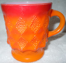 Vintage Anchor Hocking Red Burnt Orange Diamond Shape Design Coffee Mug - $6.99