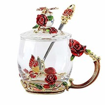 Lilyss Tea Cups Coffee Mug with Lid Spoon for Women Girls, Unique (Red S... - $42.40