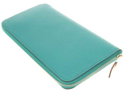 HERMES Azap Long Silk In Veau Epsom Blue Paon Wallet #X Authentic 5402519