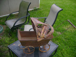 "Vintage Toy Carriage  16 1/2""  Metal & Wood for restoration - $17.30"