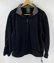 Timberland Fleece Jacket Mens Size Medium Black Gray Zip Up Solid  - $24.75