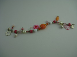 HANDCRAFTED ARTISAN BRACELET LAMPWORK BEADS CRYSTALS PEARLS PINK SIZE 7.... - $14.85