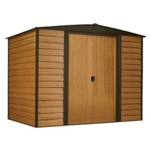 Outdoor 6-ft x 5-ft Steel Storage Shed with Woodgrain Pattern Siding - $640.00