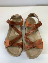 Earth Origins Womens Size 7 Strappy Footbed orange braided criss cross S... - $23.33