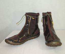 Nike Lab G Series Boots Size 8.5 Ankle Womens Brown Patent Leather Slip On - $44.54
