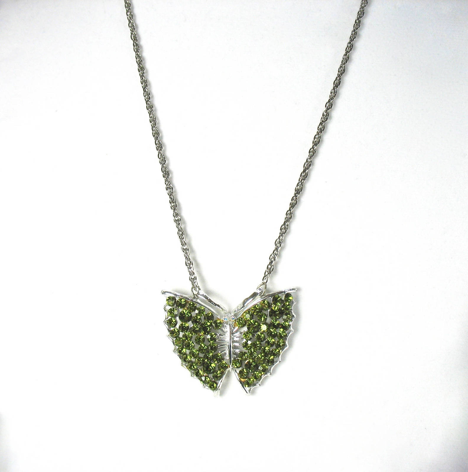 Butterfly Pendant Necklace, Green Rhinestones, Large, Long Chain, Silver, 1970's