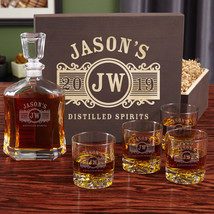 Marquee Personalized Decanter Set with Wood Gift Box - $149.95