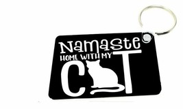 Women Pet Lover Animal Cat Namaste Home with My Cat Key Ring Keychain Yo... - $11.88