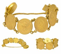 1900s Antique Estate 22k Gold Liberty Head $5 Gold Coin Gypsy Bracelet - $4,393.64