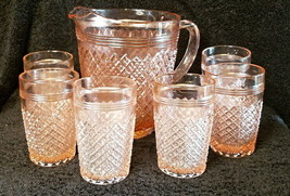 """Reproduction Pink """"Miss America"""" Water Set (Pitcher + 8 Tumblers) - $250.00"""