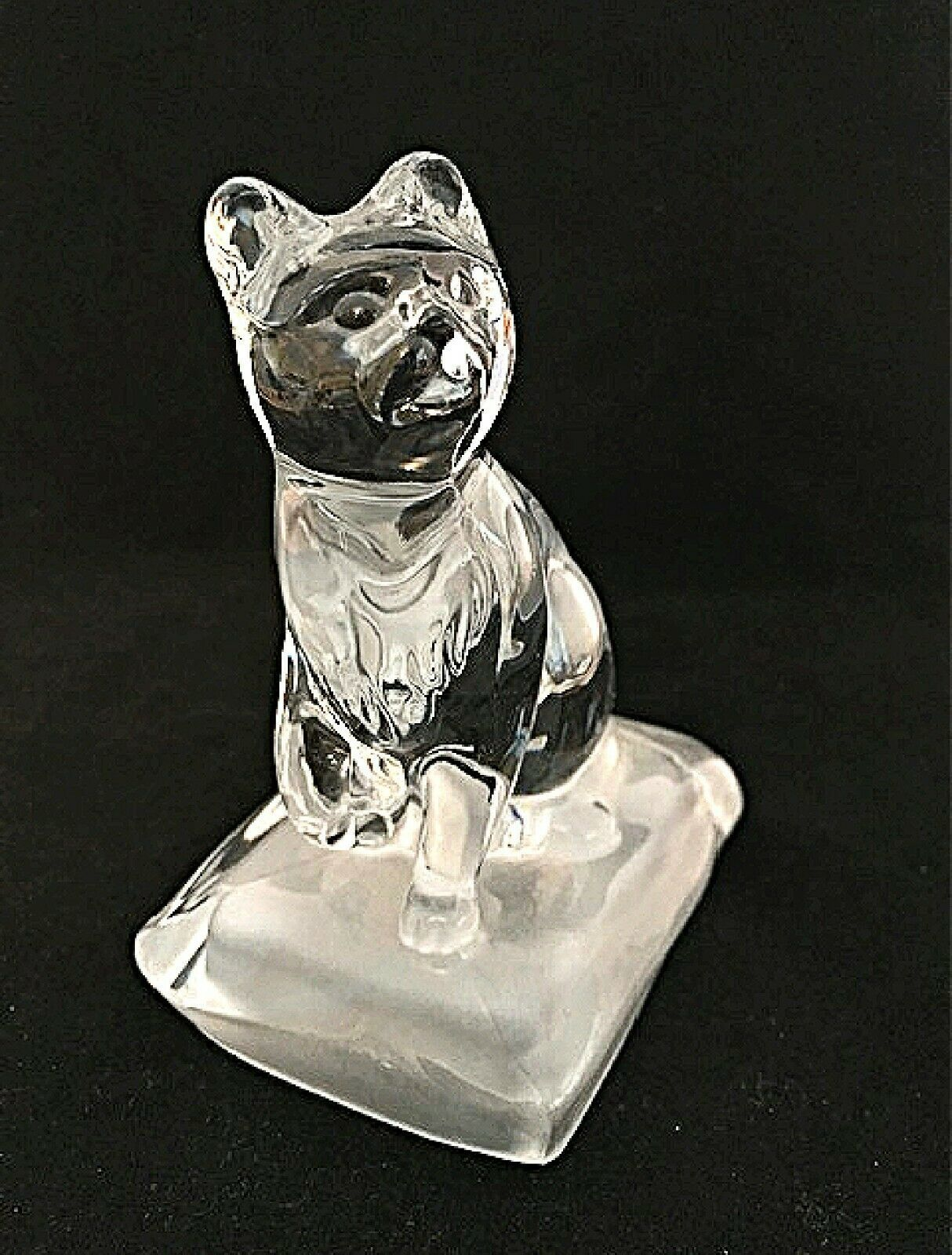 "Primary image for Cristal d'Arques Paperweight Lead Crystal Cat Frosted Base Figurine 5.25"" Tall"