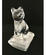 Cristal d'Arques Paperweight Lead Crystal Cat Frosted Base Figurine 5.25... - $15.83