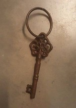 Key Cast Iron Victorian Skeleton Church Key rustic brown with ring - $8.90