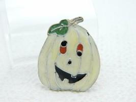 Vintage Halloween Goofy Eyed Pumpkin White Enamel Darlene Group Pin Brooch - $13.86