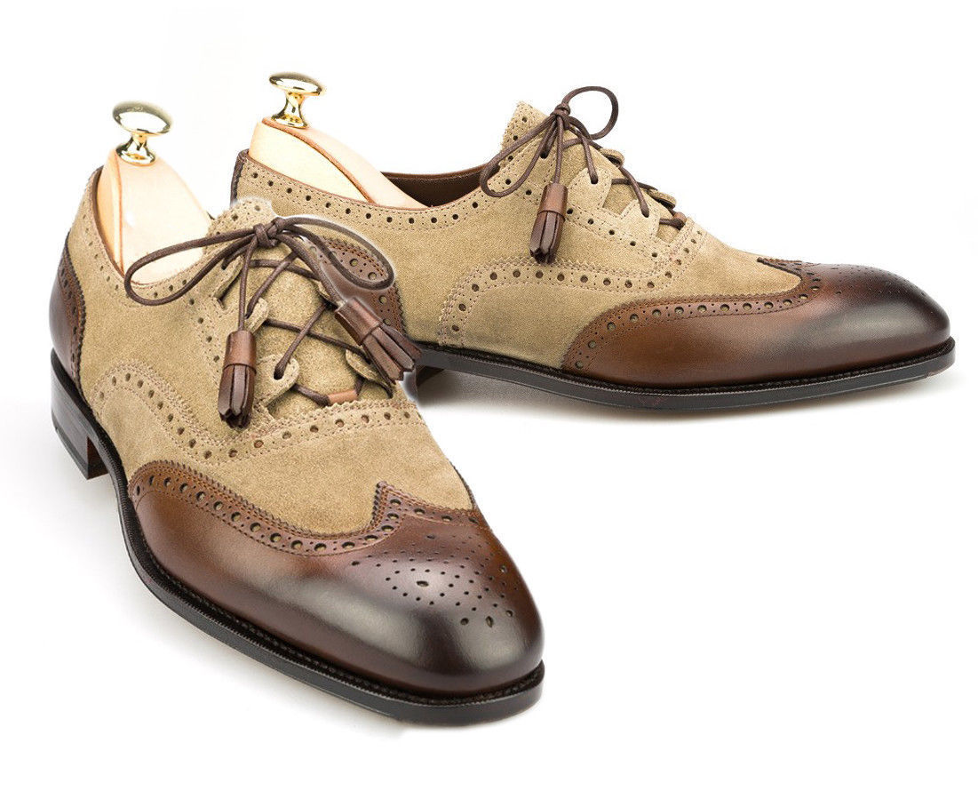 Handmade Men's Wing Tip Brogues Brown Suede and Leather lace Up Dress Oxford Sho