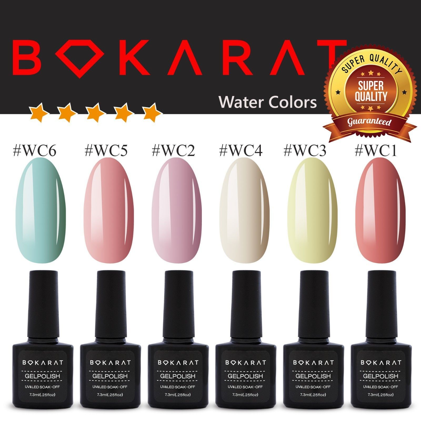 Gel Nail Polish ~Watery Colors~ 7.3 ml Soak Off UV LED ~High Quality~ Bokarat