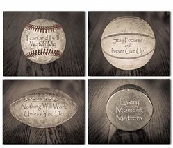 Inspirational Sports Quotes - Set of Four Photos 8x10 Unframed - Makes a Great G