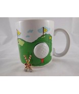 Vintage Russ Dimensional Golf Mug Cup  Ball on Tee Plus Golf Club Pin - $9.89