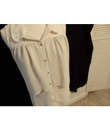 Women 1X L XL 12 14 Blous Sleev Off White Beig Over Lay Button Shirt Sem... - $11.14