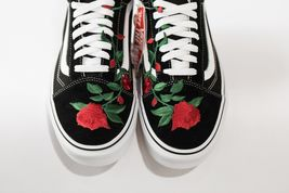 Vans Rose embroidered customs available in all sizes black and white image 5