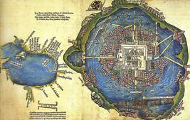 1524 Map of the Aztec city Tenochtitlan Nuremberg Poster Print Decor Wall Art - $12.38