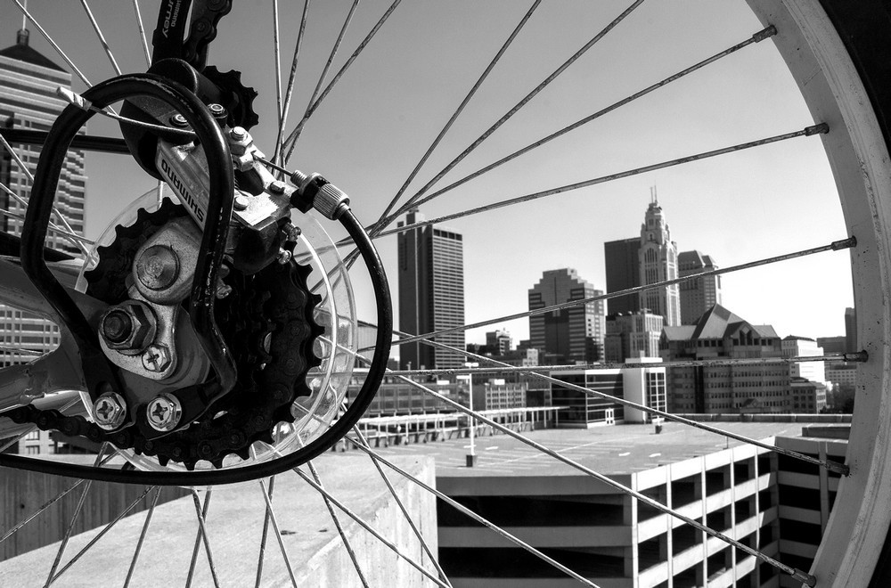 "Columbus, Ohio Bike Print - ""Spokes View"""