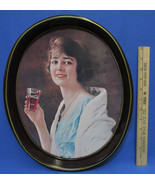 Vintage 1983 Coca-Cola Coca Cola Coke Tin Tray Woman Lady Drinking Oval ... - $10.88