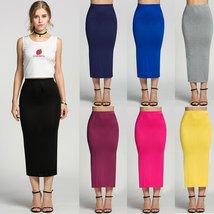 Stylish Lady Women's Casual Slim Fitted Long Skirt Elastic Waist Side Split Maxi