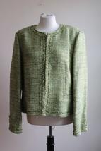 Talbots 16 Green Italian Tweed Open Front Fringe Blazer Jacket - $41.80
