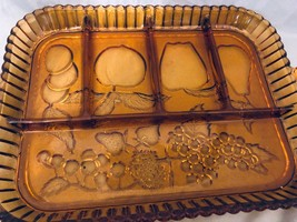 "Divided Dish Indiana Glass Vintage Amber Fruit or Relish Tray  12"" x 9"" - $38.61"