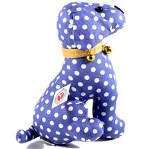 Delton Blue Polka Dot Fabric Puppy Dog Jingle Bell Small Door Stopper Doorstop image 4