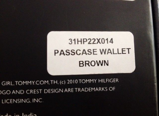 Tommy Hilfiger Trifold Passcase Wallet New In box with Tag Brown Leather image 4