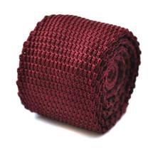 Frederick Thomas Plain Maroon Dark Red Skinny Knitted Tie FT272