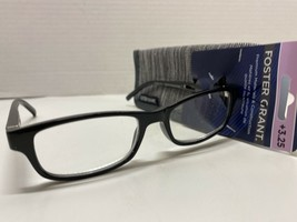 Reading Glasses Foster Grant Black Silver Accents With Case +3.25 Strength Mens - $12.99