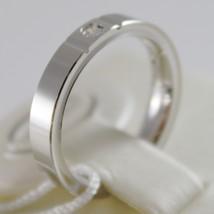 18K WHITE GOLD WEDDING BAND UNOAERRE SQUARE COMFORT RING, DIAMOND MADE IN ITALY image 2