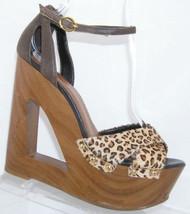 Jessica Simpson Niki chettah print ankle strap studded platform wedges 7B - $30.49