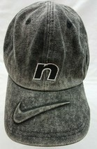 RARE Vintage Nike Air 90's Black Denim Snapback Dad Hat Big Logo Swoosh - $118.79