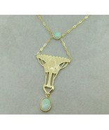 14k Gold Arts and Crafts Style Genuine Natural Opal Festoon Necklace (#J... - $1,188.00