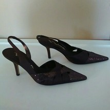 Nina Womens Size 6 Brown Shiny Pointed Toe Leather Sole Heels - $35.64