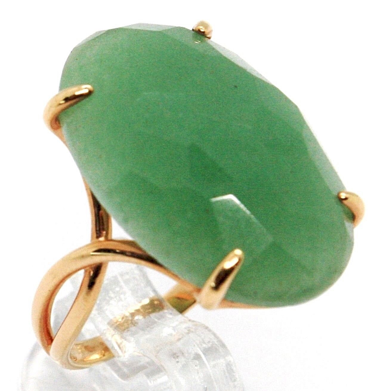 SOLID 18K ROSE GOLD RING, BIG GREEN AVENTURINE, CUSHION OVAL CUT MADE IN ITALY
