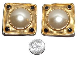 Vintage Etruscan Hammered Satin Gold tone Pearl BIG Statement Clip On Earrings - $19.99