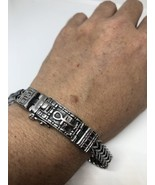 Silver Stainless Steel Gothic Ankh 9 Inch Bracelet - $123.75