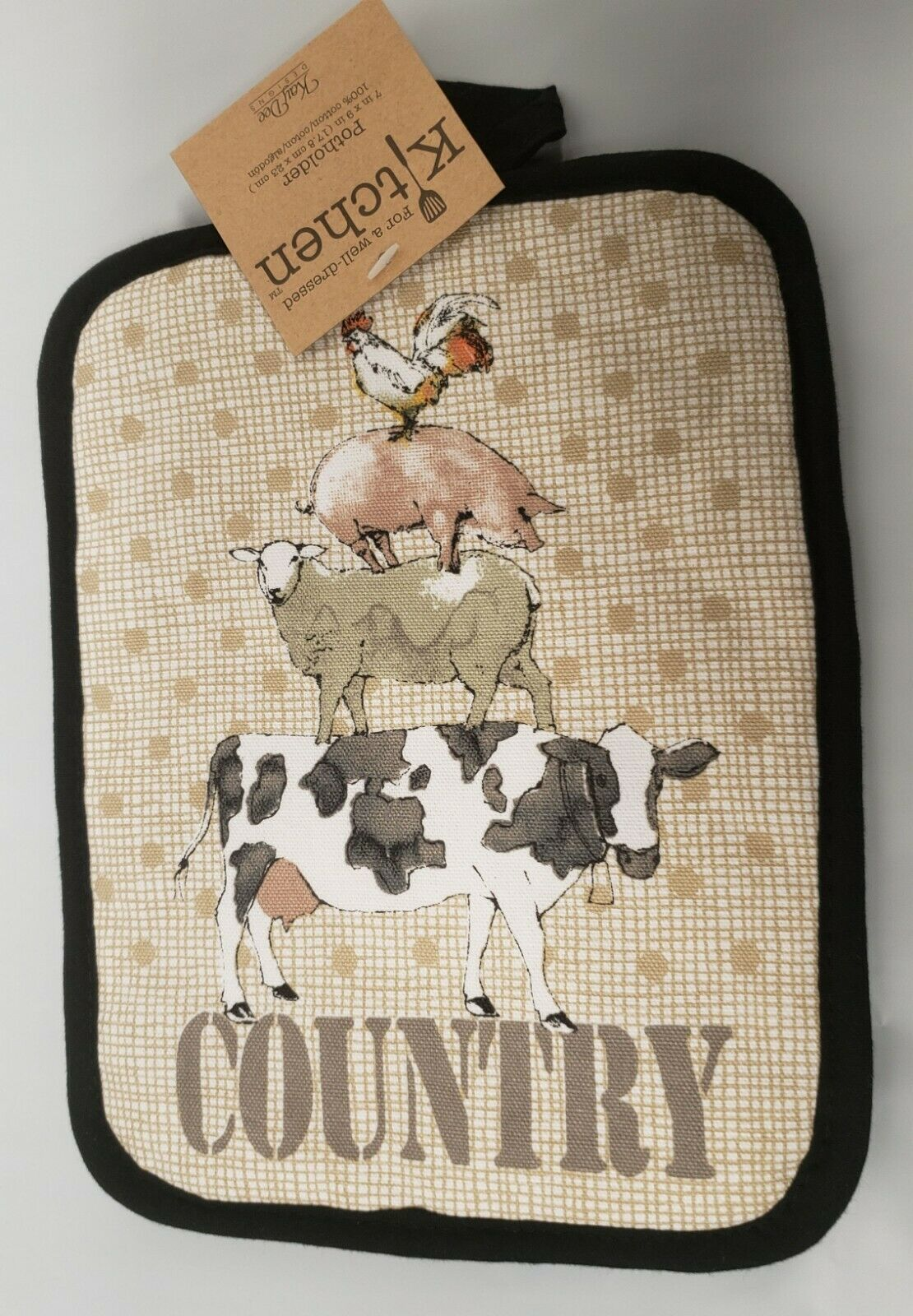"""Printed JUMBO POT HOLDER (7""""x 9"""")COUNTRY FARM ANIMALS,COW,SHEEP,PIG,ROOSTER, KDD"""