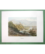GERMANY Lahneck on Rhine River - COLOR Fine Quality Lithograph Print - $26.01