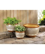 Earth-Tone Colors Ceramic Flower Pots w/ Drain Hole Set of 3 Varied Sizes - $44.57