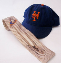 NY Mets 1987 Bat Tie M148 Shaped Men's Tie & New ERA Blue Baseball Cap M... - $39.00